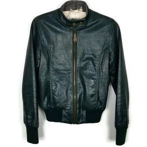 DOMA Hunter Green Leather Bomber Jacket Medium